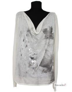 Bluza dama, alb cu argintiu, larga, GAS1