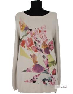 Bluza dama casual, beige, trandafiri, Rinascimento1