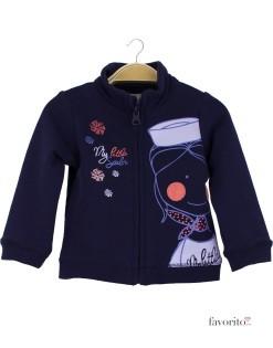 Bluza de trening bebe cu fermoar, bleumarin, Grain de blé1