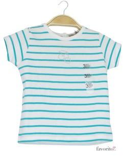 Tricou bebe alb cu dungi color, Grain de blé-verde1
