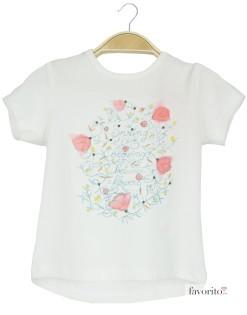 Tricou bebe alb, ramuri cu flori, Grain de blé1