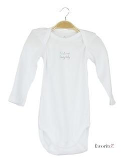 Body bebe cu maneca lunga, alb, Welcome, Grain de blé1