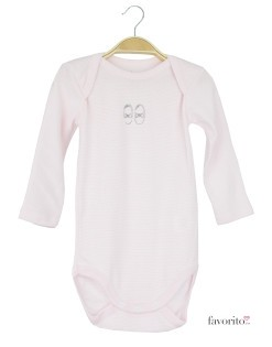 Body bebe cu maneca lunga, dungulite roz, logo balerini, Grain de blé