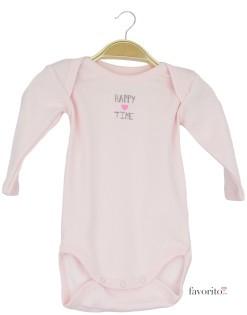 Body bebe cu maneca lunga, roz, happy time, Grain de blé1