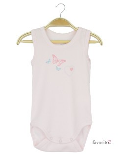Body bebe, fara manecute, roz, fluturi, Grain de blé 1