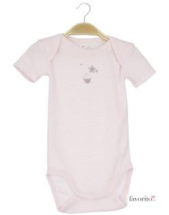 Body bebe, maneca scurta, dungulite roz, cupcake, Grain de blé1