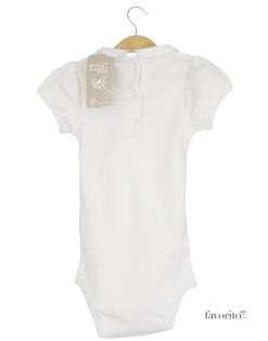 Body bebe, manecuta foarte scurta, guler, inimioare, logo Grain de blé-alb2