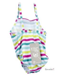 Costum baie intreg bebe, dungi color, Grain de ble-2