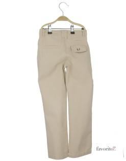 Pantaloni lungi baieti, beige, buzunar nasture, YCC2