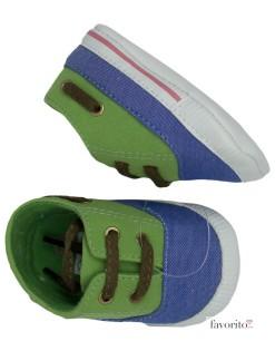 Tenisi copii mici, verde cu albastru, siret, Grain de ble1