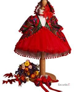 Compleu Rochita Maria de ocazie, include 4 piese (0-3-0-6 luni)-rosu1
