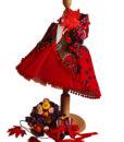 Compleu Rochita Maria de ocazie, include 4 piese (0-3-0-6 luni)-rosu2