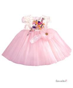 rochita-eleganta-zana-florilor-cu-bentita-pompon-si-bolero-2