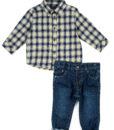 set-cowboy-2-piese-baietei-camasa-carouri-galbene-si-jeansi-6-24-luni-losan-1