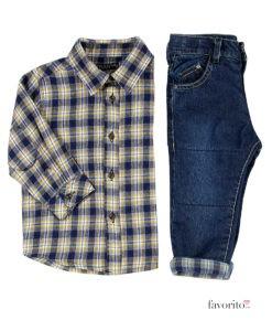 set-cowboy-2-piese-baietei-camasa-carouri-galbene-si-jeansi-6-24-luni-losan-3