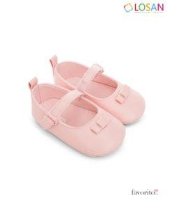 Balerini bebeluse, 2 culori diferite, alb, roz, imitatie de piele, LOSAN (0-12 L)
