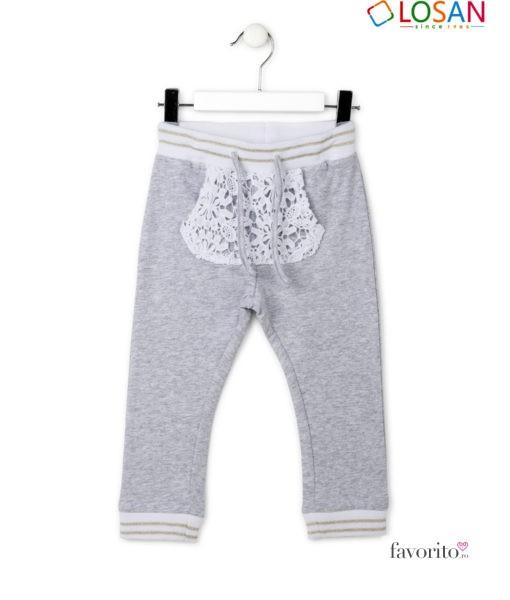 Pantaloni lungi din bumbac, fete, ROMANTIC LIFE, dantelati, LOSAN (2-7 ani)-1