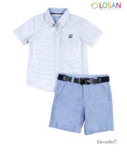 Set elegant baietei, camasa si bermude cu curea, CHIC MINI Gentleman, LOSAN (2-7 ani)-1