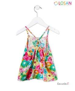 Top fetite inflorat, SUN STRAP, clos, bretele ajustabile, LOSAN (2-7 ani)-2