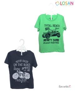 Tricou baietei, MOTO PRINT, bumbac, 4 culori diferite, LOSAN (2-7 ani)-2