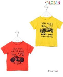 Tricou baietei, MOTO PRINT, bumbac, 4 culori diferite, LOSAN (2-7 ani)