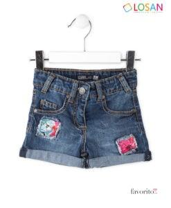 Pantaloni scurti denim, fete, Fun Sun, LOSAN (2-7 ani) -1