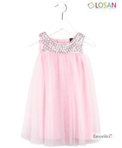 Rochita din tul fara maneci, fete, Pink Princess, roz, cu strasuri, LOSAN (2-7 ani)-1
