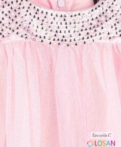 Rochita din tul fara maneci, fete, Pink Princess, roz, cu strasuri, LOSAN (2-7 ani)
