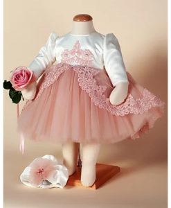 Compleu Margueritte pentru botez, 4 piese, cu trena, turban si bolero, roz (0-3-3-6 luni)-8