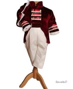 Costum Victor de ocazie cu redingota, catifea, visiniu (0-3-3-6 luni)-1