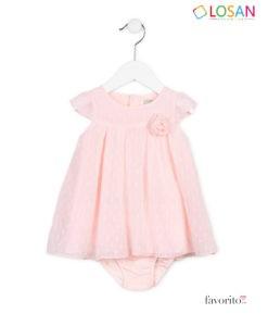 Rochita bebe cu maneca scurta tip body, FLOWER CHIC, plumeti, roz pastel, LOSAN (3-24 L) -1