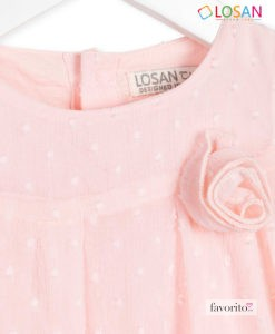 Rochita bebe cu maneca scurta tip body, FLOWER CHIC, plumeti, roz pastel, LOSAN (3-24 L) -3
