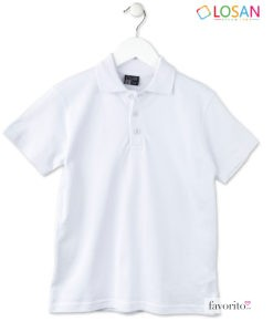Tricou alb POLO baieti, Classic White, 100 bumbac, LOSAN (8-16 ani) -1