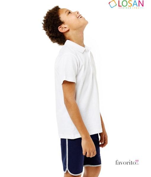 Tricou alb POLO baieti, Classic White, 100 bumbac, LOSAN (8-16 ani) -2