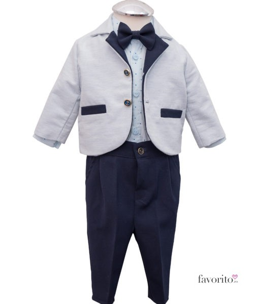 Costumas Lucas cu camasa tip body, include 6 piese, albastru-gri (3-9 luni)-11