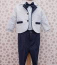 Costumas Lucas cu camasa tip body, include 6 piese, albastru-gri (3-9 luni)-2
