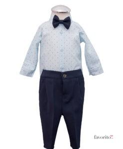 Costumas Lucas cu camasa tip body, include 6 piese, albastru-gri (3-9 luni)-8