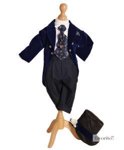 .Costum din catifea Little Dandy de ocazie, cu joben si redingota, bleumarin (0-3-3-6 luni)-1