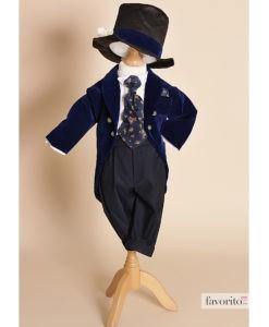 .Costum din catifea Little Dandy de ocazie, cu joben si redingota, bleumarin (0-3-3-6 luni)-2