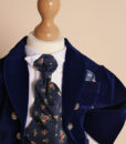 .Costum din catifea Little Dandy de ocazie, cu joben si redingota, bleumarin (0-3-3-6 luni)-3