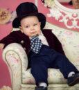 Costum din catifea Little Dandy de ocazie, cu joben si redingota, visiniu (0-3-3-6 luni)-1