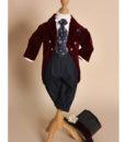 Costum din catifea Little Dandy de ocazie, cu joben si redingota, visiniu (0-3-3-6 luni)-5