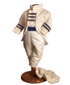 Costum Victor de ocazie cu redingota, catifea, alb ivoire cu accente albastre(0-3 3-6 luni)-1