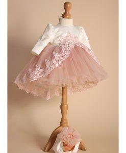 Compleu Margueritte pentru botez, 4 piese, cu trena si jacheta guler, roz (0-3-3-6 luni)-1