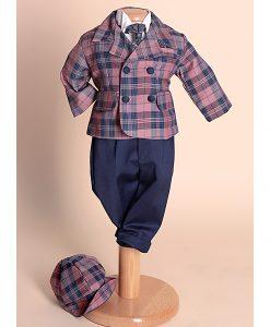 Costumas Felix elegant, mini gentleman, carouri rose (0-3-3-6 luni)-2