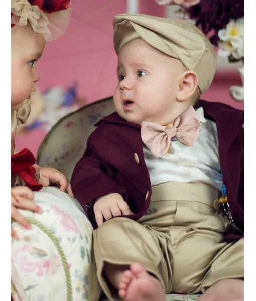 Costumas elegant Andreas, costumas botez, set 5 piese, burgundy ( 0-3-3-6 luni)-3