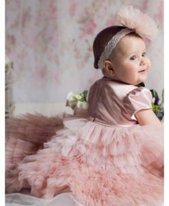 Rochita de botez cu fodre, Josephine, compleu din 3 piese, roz prafuit (0-3 luni-3-6 luni)-2