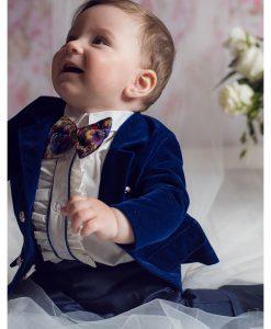 Costum Ralph de ocazie, cu papion si camasa cu fodre, bleumarin (0-3-3-6 luni)-1