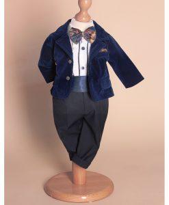 Costum Ralph de ocazie, cu papion si camasa cu fodre, bleumarin (0-3-3-6 luni)-2