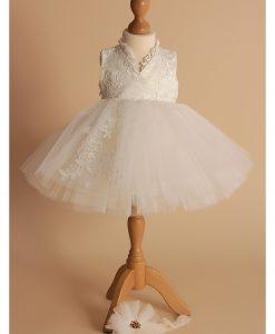 Rochita de botez Ballerina, compleu 3 piese, ivoire (0-3-3-6 luni)-1